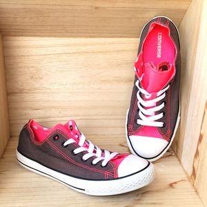 Converse Womens Gray Pink Polka Dot Shoes